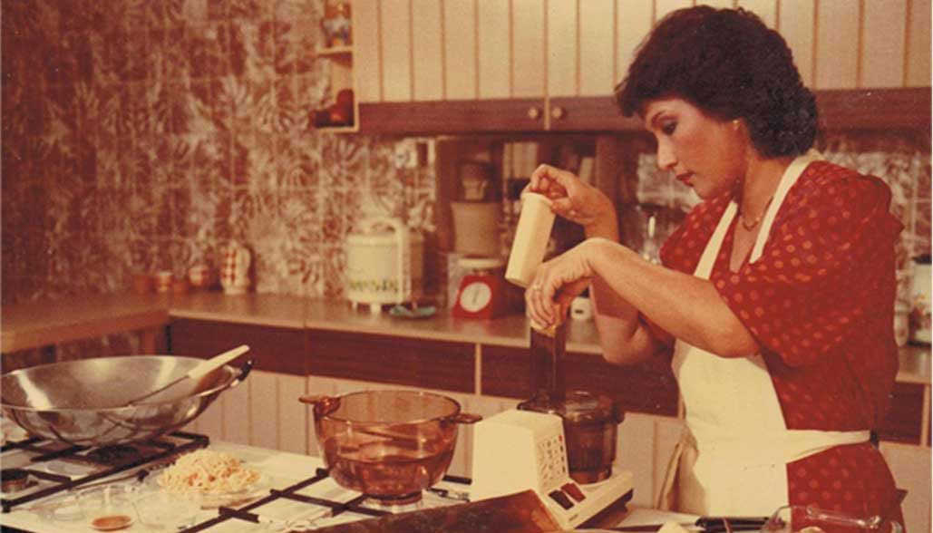 Violet, hosting her very own television cooking program in the 1980s.